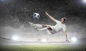 Ein Fußballer zeigt sein Können